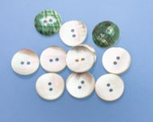 "16 Vintage 11/16"" Natural Curved Shell 2 Hole Buttons. Iridescent Mother of Pearl Tones. Green and White on Reverse Side. Item 3409S"