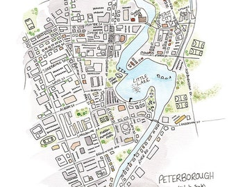 Limited Edition Peterborough Ontario Map Print