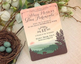 5x7 Whimsical Rolling Hills with Bear Wedding Invitation: Get Started Deposit or DIY Payment