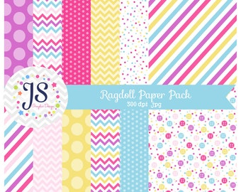 INSTANT DOWNLOAD, ragdoll paper back or sewing digital paper for a ragdoll party - personal and commercial use