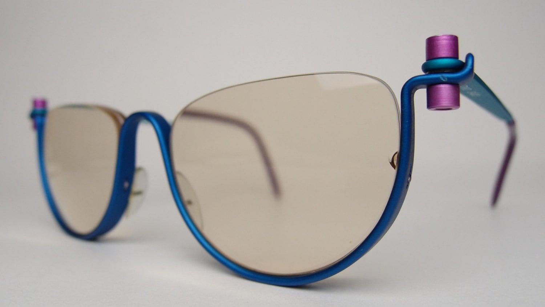 e53a59c394 Vintage Pro Design Denmark Two Gail Spence Reading Glasses Sunglasses  Eyeglasses Frames Modernist Oversized Half Eye Rimless Aluminum Danish
