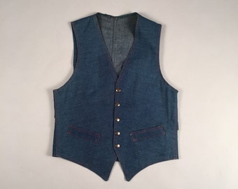 60s vtg denim blue jean fitted vest shirt sz small