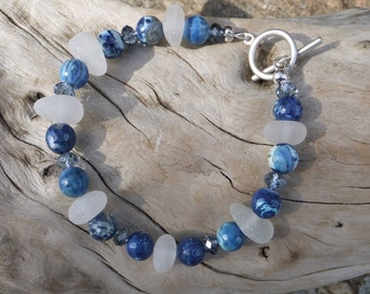 White Sea Glass Bracelet with blue agate - Beach glass  Genuine Beach Glass - Swarovski crystals.  Cobalt. SALE was 59.00