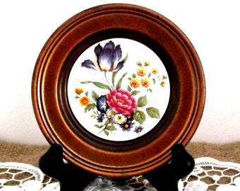 Vintage Floral Ceramic Tile with Copper Frame, Antique Floral Ceramic Tile,  Hand Painted Decorative Tile, ** Epsteam  ** Treasury