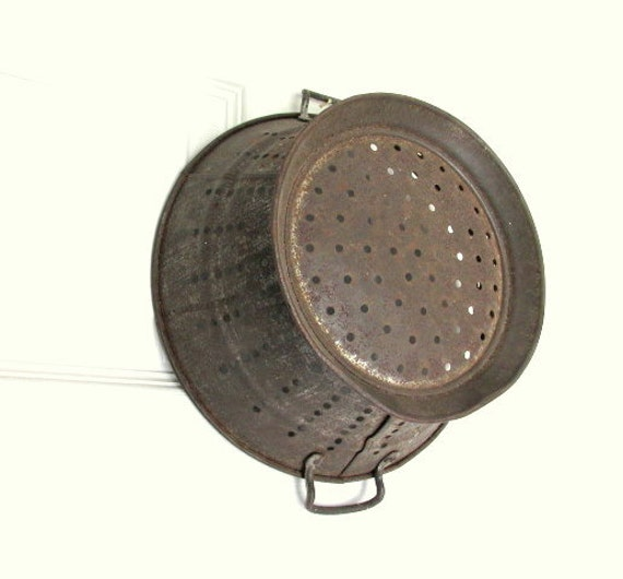 Rustic Copper Pail Pendant Light By Cre8iveconcrete On Etsy: Vintage Primitive Tin Colander By CapeCodLaurieDesigns On Etsy