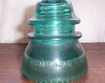 Vintage Hemingray 42 aqua green glass insulator collectible glass paper weight home decor
