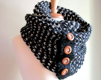 Black White  Infinity Scarves Knit Neckwarmer Scarf with Wooden Buttons Women Girls Fall Winter Accessories