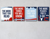 The More That You Read 3 | Wall Art Collection | Canvas Art Decor | Typography Quote Print | Boy Room | Story Book Art | Homeschool Art