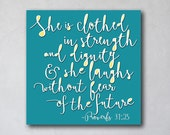 She is Clothed with Strength 4 | Proverbs 31 | Girl Wall Decor | Canvas Art Decor | Typography Scripture Print | Inspirational Scripture