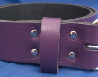 """Purple Leather Belt 1 1/2"""" Wide (38mm) with Choice of Buckle and Sizes Handmade Real Leather"""