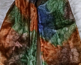 Vintage Watercolor Silk Square  Scarf