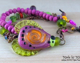 Pretty in Pink - Art Glass Bracelet made by Michou Pascale Anderson