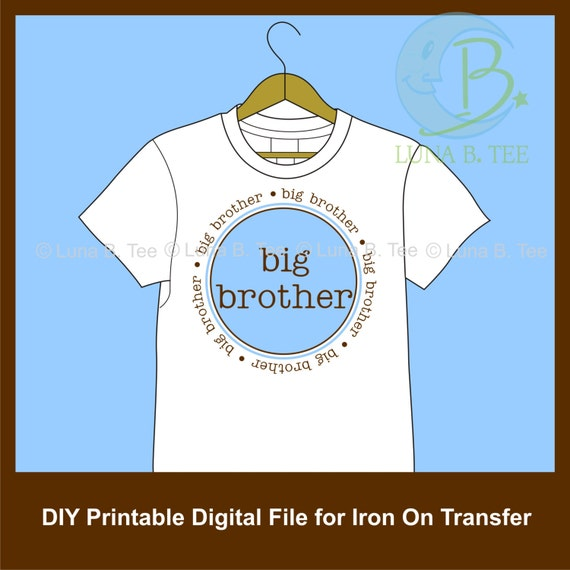 INSTANT DOWNLOAD Big Brother Blue Brown Printable DIY Iron On to Tee T-Shirt Transfer - Digital File