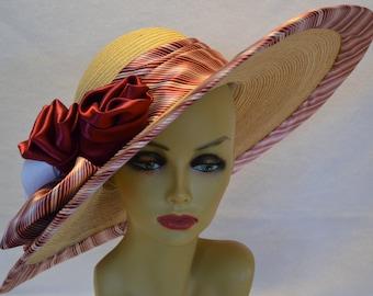 Large Brimmed Derby Hat / Sun Hat / Palm Straw Hat / Wedding Hat / Church Hat