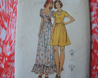 vintage 1970s Butterick sewing pattern 3034 Junior dress size 7