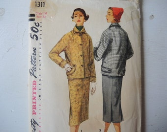 Vintage 1950s Simplicity sewing pattern 1311 Misses two piece suit size 14