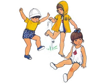 1970s Toddlers Pattern Butterick 6646, Playsuit, Reversible Hoodie, Shorts, Sailboat Applique, Vintage Sewing Pattern Size 1/2 Uncut