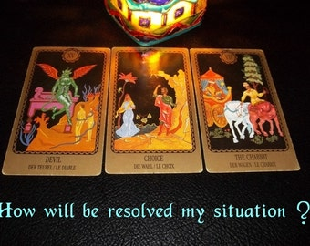 One question Three cards Tarot reading,Advanced Tarot Reading by email, Printable Report,Future Telling
