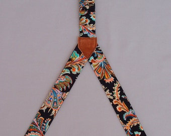 Womens suspenders, textile women braces, 3 clips suspenders, two sided patterned handmade suspenders, girlfriend gift, Y-shaped suspenders