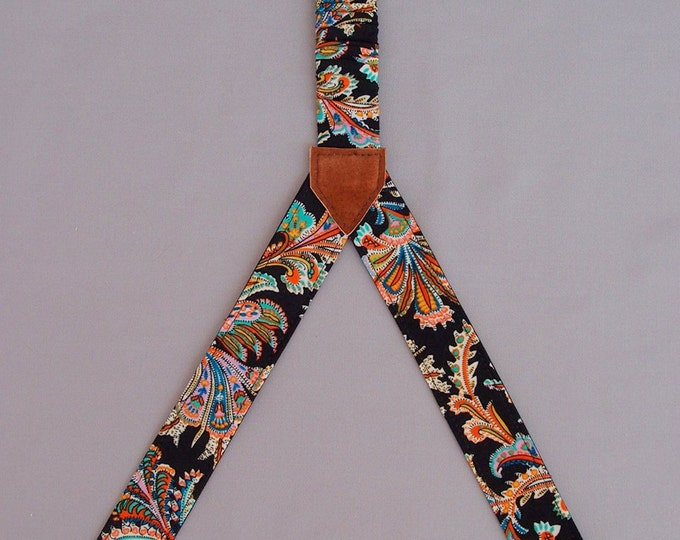 Womens Suspenders Textile Women Braces Belts &Suspenders Two Sided Patterned Handmade Suspenders Girlfriend Gift Birthday Gift