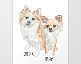 Custom  Portrait. Printable. Digital File only. 2 Pets