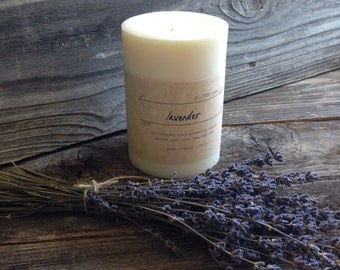Premium Soy Pillar Candle Lavender Scented Soy Candle White Pillar Soy Candle