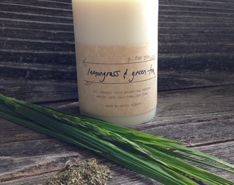 Lemongrass and Green Tea Soy Scented Candle Natural Soy Based Pillar Candle Large White Pillar Candle