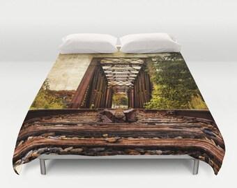 Railroad Trestle Bridge Duvet Cover, Photography, Bed Decor, Bedspread, Landscape, Nature, King Duvet, Full Duvet, Queen Duvet