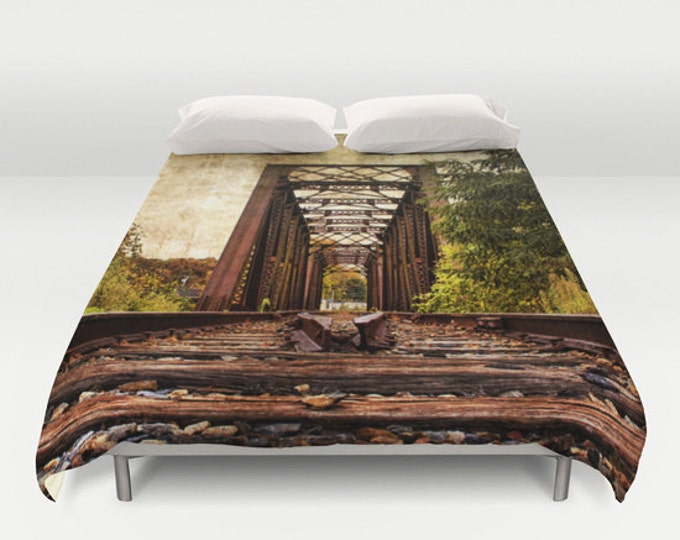 Railroad Trestle Bridge Duvet Cover, Photography, Bed Decor, Bedspread, Landscape, Nature, King Duvet, Full Duvet, Queen Duvet