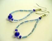 Beaded Dangle Earrings, Blue, Clear, Cobalt Blue Beaded Dangle Earrings, Silver Earring, Long Dangle Earring, Womens Jewelry, Birthday Gift