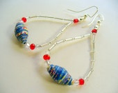 Rolled Paper Bead Dangle Earrings, Red, White and Blue, Silver Jewelry, Silver Long Dangle Earring, 4th of July Jewelry, Patriotic Earring