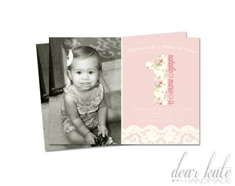 CUSTOM PHOTO First Birthday Party Invitation- Vintage Flowers and Lace