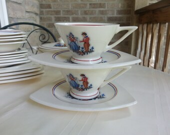 Set of 2 Tricorne Streamline by Salem China Co., Petit Point Dutch Couple