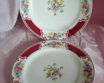 Vintage Shabby Plates Homer Laughlin Brittany Majestic Bread Plates Cottage Chic Pair Replacement China