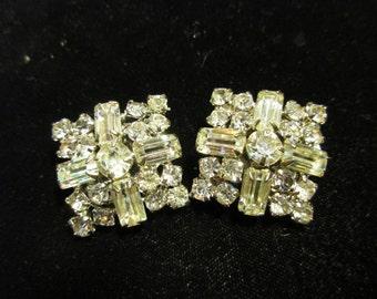 Clear Rhinestone Clip Earrings, Round and Baguette Earrings