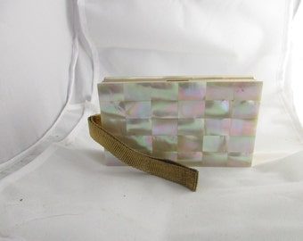 Evans MOP Large Compact and Cigarette Case with Wrist  Strap, Gold Tone, with Original Sleeve and Box