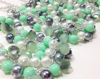 Gray & Mint Bridesmaids Necklaces - Pearl Cluster Necklaces
