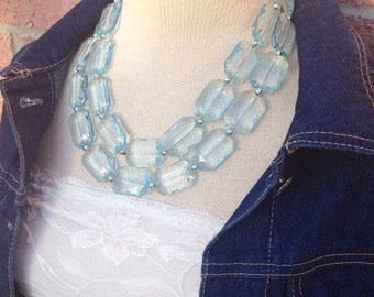 Powder Blue Chunky Statement Necklace - Translucent Crystal Jewelry