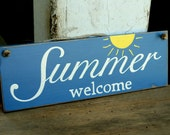 summer, welcome, sign, wood sign