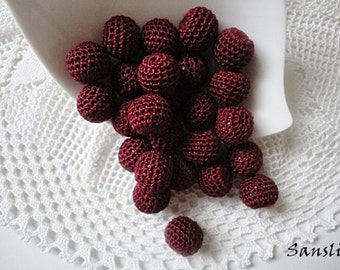 12 pcs- 13 mm beads-crocheted bead-burgundy beads-round beads-crochet ball beads-beads crochet-wooden crochet cotton yarn beads