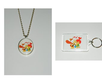 The Flintstones Pebbles and Bam Bam pendant Necklace and/ or Keychain Key Chain