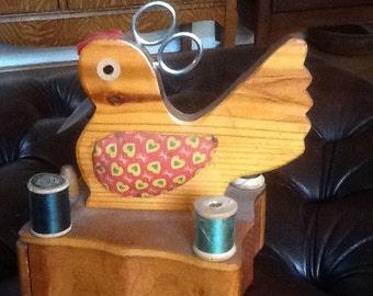 Wood folk art chicken sewing caddy