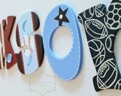 Blue, Red, and Brown Sports Themed Wooden Letters for Nursery or Bedroom