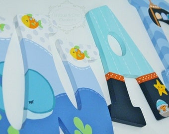 Underwater Ocean Whale and Submarine Nautical Themed Wooden Letters for Nursery or Bedroom