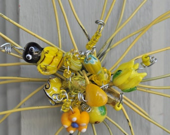 Simply ADORNable, bumble bee unique yellow wire flower with embellishments