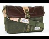 35% OFF SALE - Waxed Canvas Messenger bag - handmade - Military green + genuine leather accents - MBB001