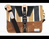 Waxed Canvas Messenger bag - handmade - laptop bag + genuine natural leather accents - MBB002