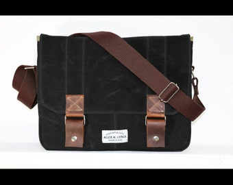 SALE - Contemporary Waxed Canvas Laptop Messenger bag - cross body bag handmade by Alex M Lynch - LB0003