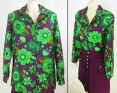 Reserved for Debbie-Vintage 70s MOD POP art Green & Purple Floral ~PYKETTES~ Blouse / Short Jacket hippie