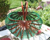 Vintage Wood And Green Net /String Collapsible Fishing Basket, Market Tote